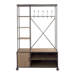 Multipurpose Metal Wood Clothes Rack - Description: