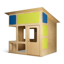TrueModern - Indoor Playhouse in Birch Veneer - Solid birch and MDF with  birch veneer. 58.125 in. W x 67.5 in. W x 61.125 in. H ( 277 lbs.)The MD-20 Playhouse comes from prefab designer Edgar Blazona of Modular Dwellings. Its made with eco-friendly and sustainable birch plywood and non-toxic clear and painted finishes. Features rounded edges and is made in the USA by a GREEN GUARD CERTIFIED manufacturer. Removable colorful panels, two interior wall-mounted paper tablet holders (paper tablets not included) plus a marker and pen holder. This structure is not suitable for the outdoors. However, if you do decide to leave it outdoors, we strongly suggest covering it when not in use