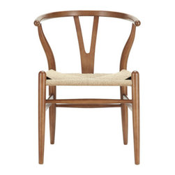 Woven Shaker-Chair - Marrying the spartan natural wood with modern design, this Curved Back Shaker Chair makes a great match with a rustic harvest table or modern dining table. Tightly woven seat weaves and a simple and sturdy foundation make the chair a must-have for any modern home.