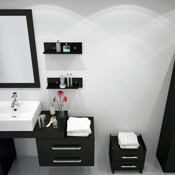 "33.5"" to 57"" Reversible Scorpio Bathroom Vanity - Flip it and Reverse it! This stylish modern vanity exudes modern elegance in a way no other bathroom cabinet can. Eye-catching and exciting, this vanity features a totally unique and customizable design that easily mounts in either direction! Depending on your preference, the vessel sink countertop can be mounted either on its left or right-hand side as shown in the additional pictures above! The 2 sliding drawers can be mounted completely separate for a 33.5"" wide vanity with seperate 23.5"" storage cabinet or level with the vanity top for a 57"" width. This allows for great versatility for any design and two storage drawers always conveniently within your reach. The rich espresso-hued cabinetry is made from high quality oak and is meticulously crafted to last for years of extended use. The sliding drawers feature the patented Soft-Close system for gentle opening and closing, and the sink is porcelain/ceramic for beauty and durability. Long-lasting functionality, sophisticated design, and timeless quality blend seamlessly in this incredible bathroom vanity that can be used for any width from 33.5"" to 57""!"