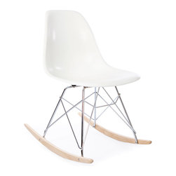 Vertigo Interiors - High Quality Eames Style RSR Rocking Side Chair, White - The Eames Style RSR Rocking Side Chair has the iconic Eames style eiffel base paired with treated beech wood runners. Constructed of high quality polypropylene, the chair is durable, non-toxic and easy to clean. This chair is exceptionally comfortable and is perfect for nurseries and dining rooms alike.