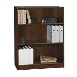 """Bush - Bush Universal 48""""H 3 Shelf Wood Bookcase in Vogue Cherry - Bush - Bookcases - WL1244803 - The Bush Furniture Universal 48""""H 3 Shelf Wood Bookcase in Vogue Cherry is a great choice if you need that bit of extra storage room. It is a perfect piece to add to a home office or small space. Two shelves are adjustable to accommodate book and file sizes."""