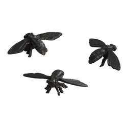 Cyan Design - Cyan Design Sculptural Bees (Pack of 3) X-29100 - These Cyan Design sculptural bees come in a set of three and are a delightful way to add charm and whimsy to your home. Whether seated on a side table, displayed in a case or placed elsewhere in the home, you'll enjoy the fine detailing, cast iron bodies and Rustic Verde Bronze finish.