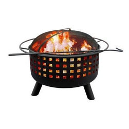 "Landmann - City Lights Memphis Fire Pit Georgia Clay - City Lights - This Memphis Fire Pit features decorative cross hatch cut outs and a Georgia Clay finish. Sturdy steel construction is designed for easy assembly. It has a large 23.5"" diameter bowl with full diameter handle. Comes with full-size porcelain cooking grate. Includes poker and Spark guard. 29.5""L x 29.5""W x 23""H 32 lbs. Burn Surface Area: 397 sq. in"