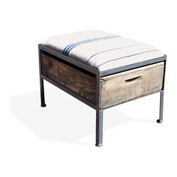Vintage Crate Ottoman - 1 Drawer White with Blue Stripes - These amazing handmade ottomans are made locally from vintage fruit crates, and are upholstered with different vintage fabrics. Each are unique and crate graphics may vary. They make a great addition to any room.