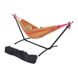 Sunnydaze Decor - Red/Yellow Double Brazilian Hammock & Stand Combos, Sunset - Install and move your hammock easily with a lightweight hammock stand.  This combination kit includes, a cotton weave hammock, a steel tube stand, and a carrying case for camping or traveling.