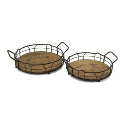 "IMAX - Traineur Serving Trays - Set of 2 - Reminiscent of oak barrels used to age wine, the Traineur serving trays has antiqued logo graphics and wrought iron wine bottle holders. Item Dimensions: (4.-4.5""h x 14-16.25""w x 11.5-13.25"")"