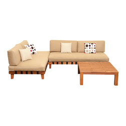 International Home Miami - Amazonia Langkawi 3 Piece Eucalyptus Seating Set - Langkawi 3 Piece Eucalyptus Seating Set belongs to Amazonia Collection by International Home Miami Great Quality, elegant design patio set, made of solid eucalyptus wood. FSC (Forest Stewardship Council) certified. Enjoy your patio with style with these great sets from our Amazonia outdoor collection.  Chaise Lounge (2), Coffee Table (1)