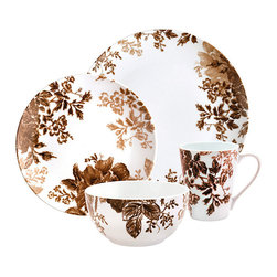 Paula Deen - Paula Deen Tatnall Street Brown 16-piece Dinnerware Set - This Tatnall Street Collection dinnerware set from Paula Deen evokes images of hand-etched,delicate botanicals that spill beyond their borders. Made of porcelain,this 16-piece dinnerware set is both dishwasher and microwave safe.
