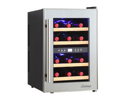 Vinotemp - 12-Bottle Mirrored Touch Screen Thermoelectri - Beautiful wine cooler with mirrored trim. For freestanding installation only. Sturdy black metal cabinet with dual-pane glass door. Sleek pole handles. Sturdy wood shelving keeps bottles secure. Soft-glowing interior lighting. Temperature range: 45-65���F. Capacity: approximately 12 standard wine bottles. 13.58 in. W x 19.29 in. D x 21.26 in. H (36.3 lbs)The Vinotemp VT-12TSP-2Z wine cooler is a dual-zone thermoelectric wine cooler with enough room to hold approximately 12 bottles. Accurately control the temperature of your wine with two independent zones that can be set for to the optimal temperatures for red and white wines. The thermoelectric cooling system of this unit protects your wine from unnecessary vibration. Thermoelectric cooling is not only good for your valuable wine collection and energy efficiency but also for the environment, because this type of cooling does not use ozone-depleting chemicals like CFCs. This attractive wine cooler includes dual-pane glass windows, which have better insulation properties, better UV protection, and also are easier to clean. Featuring a black cabinet, mirrored door trim and modern pole handle this compact and unique wine cooler is perfect for your smaller storage needs.