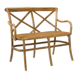 Kathy Kuo Home - Kasson French Country Light Oak Wood Loveseat Dining Bench - Couple up with your favorite person and embrace the casual comfort offered by this sculpted oak seat with high back and arms. Evoking a countryside park bench, the cross-hatched back supports you in French Country style. With clean lines and natural wood grain, the piece is perfect at a dining table, in an entryway or on an enclosed porch.