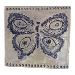 Candle on the Water Pottery - Candle on the Water: Jewel Imprinted Large Butterfly Tile- Lepidoptera 3 of 4 - Beautiful, one of a kind Large Butterfly Tile.