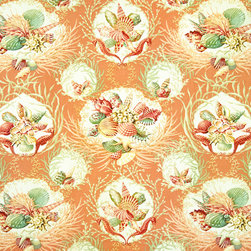 Coastal Living and Beach Fabrics - An orange seashell coral fabric with seahorses. Not just a toss of shells, but a still life with seashells, coral, and seahorses! This is a classic!