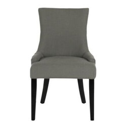 Safavieh - Lester Dining Chair (Set Of 2) - Granite - The Lester dining chair by Safavieh is full of elegant ease with low sloped arms and a slight hourglass shape to the seat back. Upholstered in pure linen in a sophisticated granite gray, this transitional chair is accented with birch wood legs in an espresso finish. The effect is easy-going and timeless.