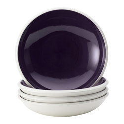Rachael Ray - Rachael Ray Dinnerware 'Rise' 4-piece Purple Stoneware Soup and Pasta Bowl Set - Featuring eye-catching shape and style with bold two-tone hues,these stonewear soup and pasta bowls are great for mixing and matching with other dishes in the Rise collection for a personalized table setting.