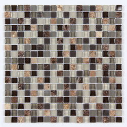 Stone & Co - Stone & Co Mosaic Glass and Stone Mix 5/8 x 5/8 Glass Mosaic Tile Mag 4429 SQ - Finish: Polished / Shiny