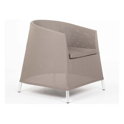 Control Brand - The Kos Arm Chair - The Kos arm chair crafted with lightweight, rust-proof powder coated aluminum frame and legs, composite sling outdoor fabric which features a beautiful curved back and arm. Provide classic styling with contemporary look. Suitable for indoor and outdoor use.