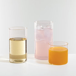 Cylinder Clear Glasses - Described as air-thin, these cylinder glasses are simple but fun.