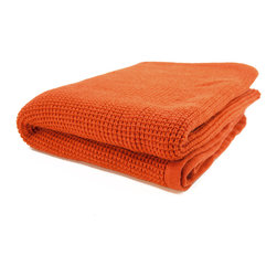 """Pur by Pur Cashmere - Signature Blend Throw Persimmon 50""""x70"""" - Cashmere blend thermal knit throw. 50% cashmere. 50% wool blend Dry clean only. Inner mongolia."""