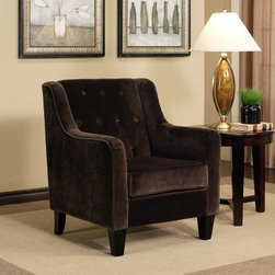 Abbyson Living Newyorker Fabric Armchair - Hampton Dark Brown - Subtle and charming are two qualities that don't get enough attention in furniture these days, but that's exactly what you'll find with the Abbyson Living Newyorker Fabric Armchair - Hampton Dark Brown. This handsome chair is an easy addition to contemporary and classic spaces alike, with it's gently sloping arms and thick cushioning of high-density foam. The plush microsuede exterior features button tufting on the seat back and the tapered wooden feet add a gentle elegance to this versatile and comfy arm chair.About AbbysonBased in California, Abbyson has been America's leading home lifestyle furnishings brand since 1989. Following a mission that aims to combine style, function, affordability, sustainability and diversity into all their products, Abbyson creates classic and transitional designs that let their customers regain the control in the environments that they call home. With operations in Italy, China, and Germany, Abbyson focuses on using the finest materials, craftsmen, and techniques, from their classic leather furniture sets to organic, hand-knotted Tibetan rugs. Abbyson recently partnered with the Sustainable Furnishings Council as part of their effort to find new ways to bring sustainable practices to home furnishings marketplace. Through their green initiatives and everyday design and construction practices, Abbyson keeps striving to meet their customer's lifestyle needs, and revitalize their day-to-day routines.