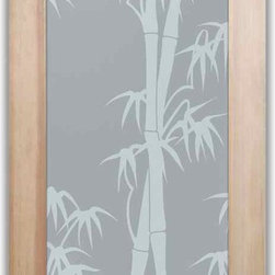 """Bathroom Doors - Interior Glass Doors Frosted - Bamboo Shoots - CUSTOMIZE YOUR INTERIOR GLASS DOOR!  Interior glass doors or glass door inserts.  .Block the view, but brighten the look with a beautiful interior glass door featuring a custom frosted privacy glass design by Sans Soucie! Suitable for bathroom or bedroom doors, there are no clear areas on this glass.  All surface areas are etched/frosted to be 100% opaque.  Note that anything pressed up against the glass is visible, and shapes and shadows can be seen within approx. 5-12"""" of the glass.  Anything 5-12"""" from the glass surface will become obscured.  Beyond that distance, only lights and shadows will be discernible. Doors ship for just $99 to most states, $159 to some East coast regions, custom packed and fully insured with a 1-4 day transit time.  Available any size, as interior door glass insert only or pre-installed in an interior door frame, with 8 wood types available.  ETA will vary 3-8 weeks depending on glass & door type........  Select from dozens of sandblast etched obscure glass designs!  Sans Soucie creates their interior glass door designs thru sandblasting the glass in different ways which create not only different levels of privacy, but different levels in price.  Bathroom doors, laundry room doors and glass pantry doors with frosted glass designs by Sans Soucie become the conversation piece of any room.   Choose from the highest quality and largest selection of frosted decorative glass interior doors available anywhere!   The """"same design, done different"""" - with no limit to design, there's something for every decor, regardless of style.  Inside our fun, easy to use online Glass and Door Designer at sanssoucie.com, you'll get instant pricing on everything as YOU customize your door and the glass, just the way YOU want it, to compliment and coordinate with your decor.   When you're all finished designing, you can place your order right there online!  Glass and doors ship worldwide, custom packe"""