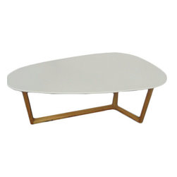 Eurostyle - Morty Coffee Table - White/Dark Walnut - Don't take this the wrong way, but the top of this table is shaped kind of like an ironing board. There, we said it. But with a walnut finished base and an unusual asymmetrical leg design, you won't be ironing shirts on this table. You'll be luxuriating in the glow of its lovely shape.