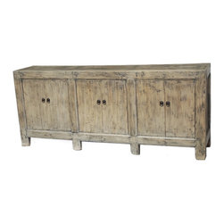 Large Natural Sideboard Buffet Cabinet Or Media Console - Solid elm wood large sideboard or media cabinet. Ample storage, removable interior shelf.