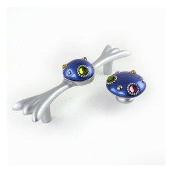 """Style 6 Bundle pull with matching knob in lapis blue - Bundle7 style 6 pull is cast and sculpted in resin with lapis blue and silver paint finish and multi colored crystals.  Handle is 7""""  with 5"""" hole span.  Matching style 6 mini knob is 2"""" diameter."""
