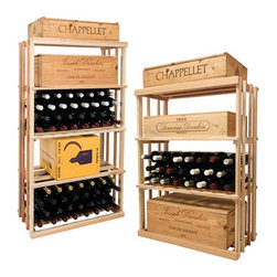 Wine Cellar Innovations - 1 Column Rectangular Bin; Vintner: Rustic Pine, Unstained - 4 Foot - Our Vintner Series 1 Column Rectangular Bin and Case wooden wine rack can store wood cases, cardboard boxes, or loose wine bottles. Purchase two to stack on top of each other to maximize the height of your wine storage. Moldings and platforms sold separately. Assembly required.