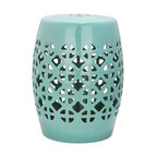 Safavieh - Amorgos Garden Stool - It?s simple geometry: this transitional garden stool has a circle and square lattice motif that brings a chic new look to an ages-old Chinese classic. Use this striking accent piece as an extra seat, plant stand or side table indoors or out:  its glazed robin?s egg blue ceramic stands up to the elements.