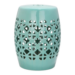 Safavieh - Amorgos Garden Stool - It is simple geometry: this transitional garden stool has a circle and square lattice motif that brings a chic new look to an ages-old Chinese classic. Use this striking accent piece as an extra seat, plant stand or side table indoors or out:  its glazed robin?s egg blue ceramic stands up to the elements.