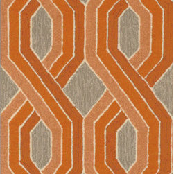 """Trans-Ocean - 24""""x96"""" Carlton Braids Orange Rug - Classic pattern and colors aligned with Brown Jordan's design aesthetic are used in these sophisticated stylish rugs.These Tufted loop construction rugs are hand crafted in China of high quality synthetic materials.This indoor/outdoor collection is designed as a companion to Brown Jordan's outdoor furniture collections.  The rugs are durable, easy to clean, and UV stabilized to minimize fading. Made in China."""