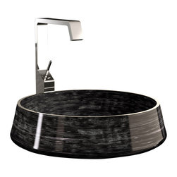 MaestroBath - Alumix Exte High End Vessel Sink, Black Silver - This ultra modern  vessel sink employs a special brush technique in order to obtain a bi-chromatic effect. The board is also brushed and polished by hand to enhance the soul and color. The round and clean design will look perfect sitting right on top of the bathroom vanity of your elegant powder room, and with light and dark colors to choose from, you will have to make no style compromises. Here is more information related to MaestroBath: Services Provided: Luxury Handmade Italian Vessel Sinks, Modern and Contemporary Kitchen and Bath Fixtures .. Maestrobath delivers contemporary and modern handmade Italian bathroom sinks and designer faucets to clients with taste of luxury. It carries a wide selection of beautiful and unique Travertine, Crystal and Glass vessel sinks in variety of colors and styles. Maestrobath services homeowners and designers Globally. Furthermore, it has dealer partners across United States and international countries.