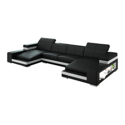 Scene Furniture - Aubrey Double Chaise Sectional - The Aubrey Double Chaise Sectional is simply stunning. Aside from the unique design and ultra modern look, this great sofa includes 2 side lights that are embedded within the 2 large side shelves. Another terrific sectional from Scene Furniture.