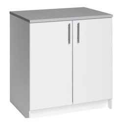 "Prepac - Prepac Elite Storage 32"" Base Cabinet with 2 Doors - Prepac - Storage Cabinets - WEB3236 - The Elite 32"" Base Cabinet is the perfect addition to your laundry room workshop or garage. The 1"" thick grey melamine countertop provides a durable work surface that will last through all your projects. With one adjustable shelf this cabinet will accommodate anything you need to store in it. Combine it with other pieces in the Elite Collection for a customized workspace."
