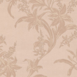 Salmon-Red Floral Textured Wallpaper - Give your walls a traditional look with a modern flare with wallpaper from the Regent Collection by Brewster.