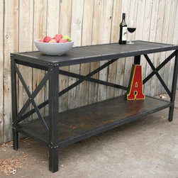 Handmade Scrap Metal and Wood Industrial Style Table by jreal - This handmade table is long on function and industrial style. It can serve as a sofa table, dining room buffet or home office credenze. It's a great way to bring vintage modern style to your home.