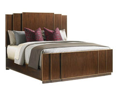 Lexington - Lexington Tower Place Fairmont Panel Bed, California King - Graceful Cathedral Walnut panels cascade into the headboard's step back design, while hand painted gold accents throughout give this piece a luxuriously chic presence.
