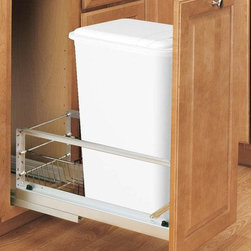 Home Decorators Collection - Rev-A-Shelf Premiere 50-Quart Waste Container - Free up valuable floor space in your kitchen with our Rev-A-Shelf Premiere 50-Quart Waste Container. This simple storage solution tucks an extra-large wastebasket neatly away in a cabinet, ready to slide out when needed. Sliding cabinet conversion kit with 50-quart trash bin. Features full-extension soft close ball-bearing slides. Trash bin is removable for easy cleaning. Door mount kit included to mount cabinet door to waste container.