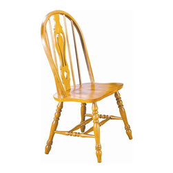 Sunset Trading - 41 in. Eco-Friendly Windsor Chair - Traditional classic beauty and style. Large backrest and seating area to provide ideal seating solution. Sturdy quality craftsmanship. Keyhole back and scooped light oak finished seat. Cantered keyhole, perfectly carved and steel reinforced turned legs. Warranty: One year. Made from Malaysian oak. Light oak finish. Made in Malaysia. No assembly required. 22 in. W x 20.5 in. D x 41 in. H (17.5 lbs.)This beautifully designed dining chair supplied by Sunset Trading will assure you many years of use and enjoyment. Complete your dining decor with the country charm of timeless casual dining chairs from the Sunset Trading - Sunset Selections Collection. yet always dependably functional, your family and friends will enjoy the seating comfort of these inviting relaxed dining chairs for years to come! Pair with your choice of coordinating Sunset Selections dining tables to bring a touch of country warmth to your home!