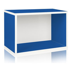 Way Basics - Way Basics Eco Stackable Rectangle Shelf, Blue - Made from the same sturdy zBoard, the Rectangle will make your life easier as you organize your garage, closet or kid's playroom! Mix and match to create your own bookshelf from a combination of Storage Cubes and Rectangles. Make storage personal again with this latest edition to the collection.