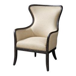 Uttermost - Uttermost 23051 Zander Tan Wing Back Armchair - Uttermost 23051 Zander Tan Wing Back Armchair