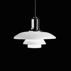 Louis Poulsen - Panthella floor lamp - The Panthella floor light from Louis Poulsen has been designed by Verner Panton. This floor mounted luminaire is great for incandescent lighting. The Panthella is composed of an injection molded white opal acrylic shade with the base and housing in white injection molded ABS. The stem of this fixture is constructed of white steel. The Panthella floor creates soft and diffused illumination. The lighting characteristics makes it suitable for providing the space with general illumination, as well as fulfilling the task illumination requirements needed for reading.