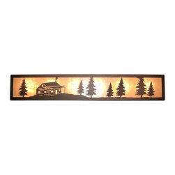 "Wildlife Decor LLC - Valance Style Bath Vanity Light, Wrinkle Black-White Mica, 48"", Cabin - Valance style bath vanity light available in 4 lengths and your choice of designs."