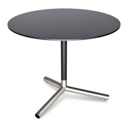 "Blu Dot - ""Blu Dot Sprout Cafe Table, Black"" - ""Pure color and brushed stainless steel play well together. Satin finish tops and stems in your choice of yellow, ivory or black. Color peeks through the legs for a flirtatious touch. """
