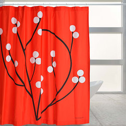 "Red Tree - ""Red Tree"" is definitely a ""wake-up"" bath curtain. A nylon or other fabric liner is recommended."