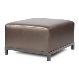Howard Elliott - Howard Elliott Atlantis Pewter Axis Ottoman Slipcover - Axis ottoman Atlantis pewter slipcover
