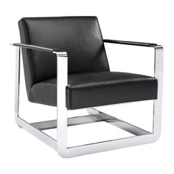 Ultra Modern Armchair with Stainless Steel Frame, Black Nobility - Ultra Modern Armchair with Stainless Steel Frame