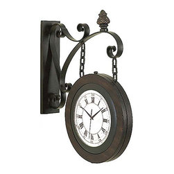 ecWorld - Large Handcrafted Metal Hanging Double Face Clock - Large Handcrafted Metal Hanging Double Face Clock - Timeless and Unique -