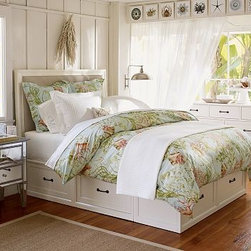 Stratton Bed with Drawers Bed & Extra-Wide Dresser Set, Full/Queen, Antique Whit - Our popular Stratton Bed with Drawers has a compact profile and generous storage options, making it ideal for small spaces. Our Stratton Extra-Wide Dresser features a solid-wood frame and drawers with English dovetail joinery and bronze-finished iron pulls. Expertly crafted solid hardwood platform bed, designed with six under-bed storage drawers. Finished by hand on all sides using an exclusive multistep process that results in exceptional depth of color, then sealed with a protective lacquer. Shown here with our Montgomery Upholstered Headboard (sold separately). Stratton Bed Brackets (set of 2 sold separately) are needed only if you are attaching a headboard to a Stratton bed. Wood swatches, below, are available for $25 each. We will provide a merchandise refund for wood swatches if they're returned within 30 days. View and compare with other collections at {{link path='pages/popups/bedroom_DOC.html' class='popup' width='720' height='800'}}Bedroom Furniture Facts{{/link}}. View our {{link path='pages/popups/fb-bedroom.html' class='popup' width='480' height='300'}}Furniture Brochure{{/link}}. Catalog / Internet Only.
